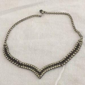 🖤Cool Vintage Rhinestone Choker Style Necklace 🖤